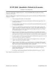 ECON 2040 - Assignment 4 (Copyright Janelle Mann 2018)1.pdf - ECON 2040  Quantitative Methods in Economics Assignment 4(4 of Final Grade Part A(2 of  | Course Hero