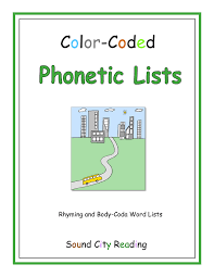 Color Coded Phonetic Lists Sound City Reading
