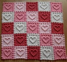 Knitted Heart Pattern Delectable Knit Heart Squares Baby Blanket Pattern Is The Sweetest