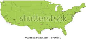 green map united states america state stock illustration 36426328 Map Of Us With Labels high resolution map of coterminous usa with 97 cities \u003e 200000 inhabitants and city labels map of usa with labels
