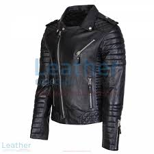 biker men black quilted leather jacket side front view