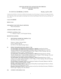 COUNCIL OF THE VILLAGE OF YELLOW SPRINGS REGULAR COUNCIL MEETING AGENDA IN  COUNCIL CHAMBERS @ 7:00 P.M. Monday, April 16, 2018 C