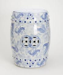 blue garden stool. Awesome Blue And White Garden Stool Friendly Space Outdoor Furniture Piece Within E