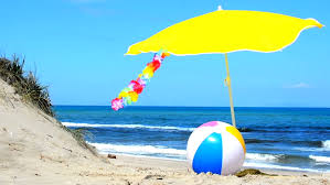 beach ball in ocean. Beach Ball And Parasol On The Sand - HD Stock Footage Clip In Ocean L