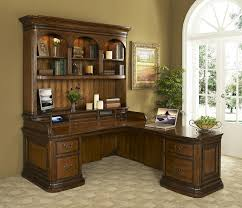 image of rustic l shaped office desk with hutch