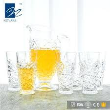 pitcher and glass set high quality engraving lead free pitcher drinking glass sets carnival glass pitcher set
