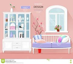 Cute Room Stylish Graphic Room Interior With Pastel Colors Sofa Cupboard
