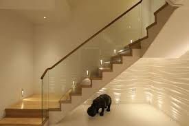 contemporary staircase lighting with under stair lighting too