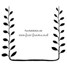 黒色の植物イラストフレーム枠 無料商用可能枠フレーム素材