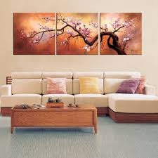 plum blossom wall art hand painted oil canvas 3 pc large japanese throughout latest plum wall