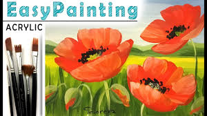 poppies how to paint landscape flower acrylic full tutorial for beginners