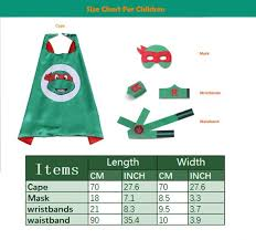 Cape Size Chart Transformers Cape And Mask Sets For Kids