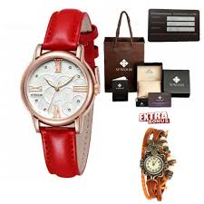 wwoor red leather watch