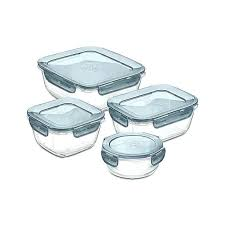 anchor glass food storage set evolution 4 piece reviews crate and barrel