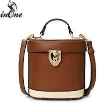 inone vegan leather solid round bucket handbag cross messenger shoulder travel bags for women 2019 bolsa feminina purse whole purses white handbags