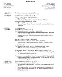 occupational therapy pediatric occupational therapy resume sample sample resume occupational therapist