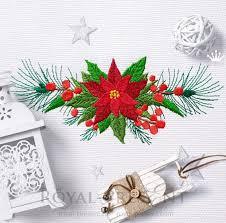 Poinsettia Designs Poinsettia Border Machine Embroidery Design Royal Present