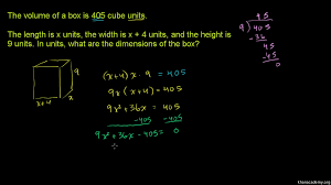 quadratic equations word problem box dimensions khan academy