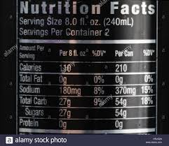 nutrition facts for energy drink stock image
