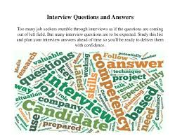 Most Common Job Most Common Job Interview Questions And Answers