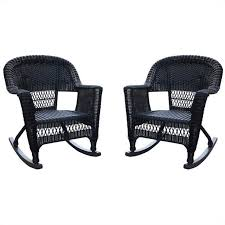 jeco wicker rocker chair in black set of 2