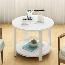 details about 2 tier wooden small round coffee table modern shelf storage side end table uk