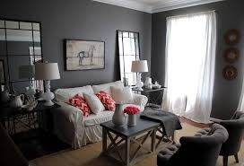 living room ideas grey small interior: attractive gray living room with cozy sofa inside small storage plus high mirror