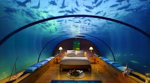Contemporary Bedroom Interior Design With Amazing Fish Tank Aquarium Bed  With Yellow Wooden Flooring And White Bed Cover Also Twin Decorative Lamp  And Blue ...