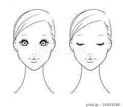 女性の顔 正面白黒のイラスト素材 34929286 Pixta