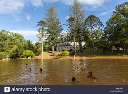 people bathing in the thermal pool of terra nostra garden parque terra nostra furnas sao miguel