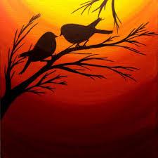 sunset painting love birds silhouette at sunset birds wall art acrylic painting canvas art wall decor