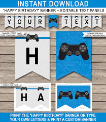 Playstation Birthday Party Pennant Banner Template | Video Game Theme