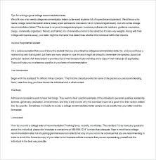 How To Write A College Recommendation Letter Trip Sample