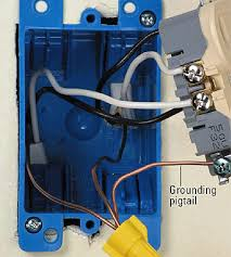 where plastic boxes are used a ground wire typically connects to the receptacle only here where wiring runs through this box to another box