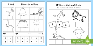 Features of the phonics worksheets bundle. Ll Sound Cut And Stick Worksheet Teacher Made