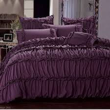 charlotte plum purple ruffle queen with purple duvet cover and glass windows for bedroom ideas