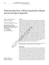 Organizational Design For Knowledge Management Pdf Ordering Disorders Linking Organization Design And