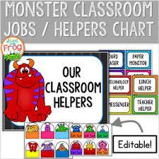 Classroom Jobs Chart Monster Classroom Jobs Helpers Chart Editable