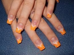 Neonové Oranžové Flitry A Malování Do špičky Nehty Má Práce 2