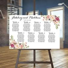 Wedding Guest List Seating Chart Wedding Seating Chart Printable Rustic Guests List