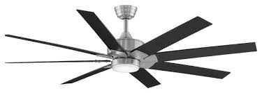 levon 64 ceiling fan brushed nickel with black blades and led light