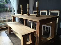 dining table extension pads uk. handmade solid oak trestle style dining table with 1x bench \u0026 3x painted chairs seat pads extension uk