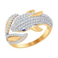 Золотое <b>кольцо</b> «<b>Дельфин</b>» артикул: 017092 - купить в интернет ...