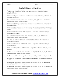 Probability as a FractionClick to Print!