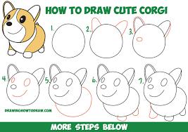 easy dog drawing tutorial. Fine Drawing How To Draw Cute Chibi Kawaii Corgi Dog Easy Step By Drawing Tutorial For  Kids Beginners Cartoon Drawings Inside