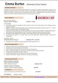 New Teacher Resume Template Elementary School Teacher Resume Examples 2017  Templates