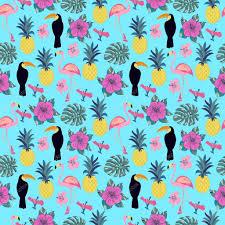 Behang Palmbladeren Elegant Patroon Met Flamingo Ananas Toekans En