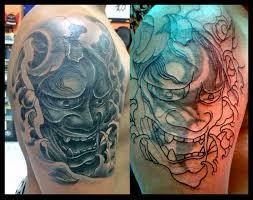 Cover Up Tattoo I Did Black And Grey Tattoo Hannya Mask Tattoo