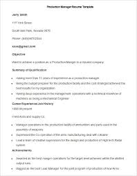 Sample Production Manager Resume Template