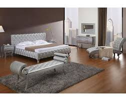 Modern Bedroom Bed Platinum Edition Bedroom Set W Modern Bed With Crystals 44b196set